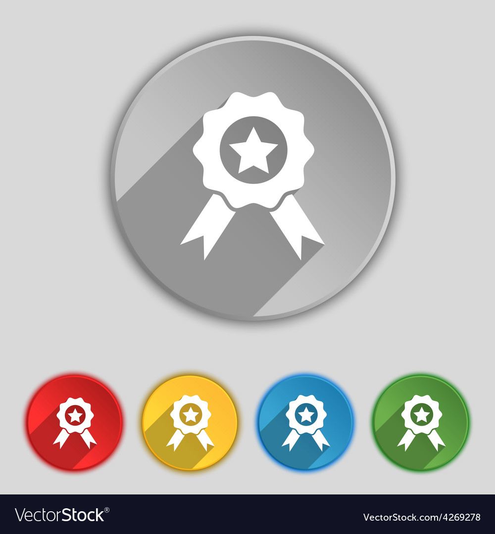 Award medal of honor icon sign symbol on five flat vector | Price: 1 Credit (USD $1)