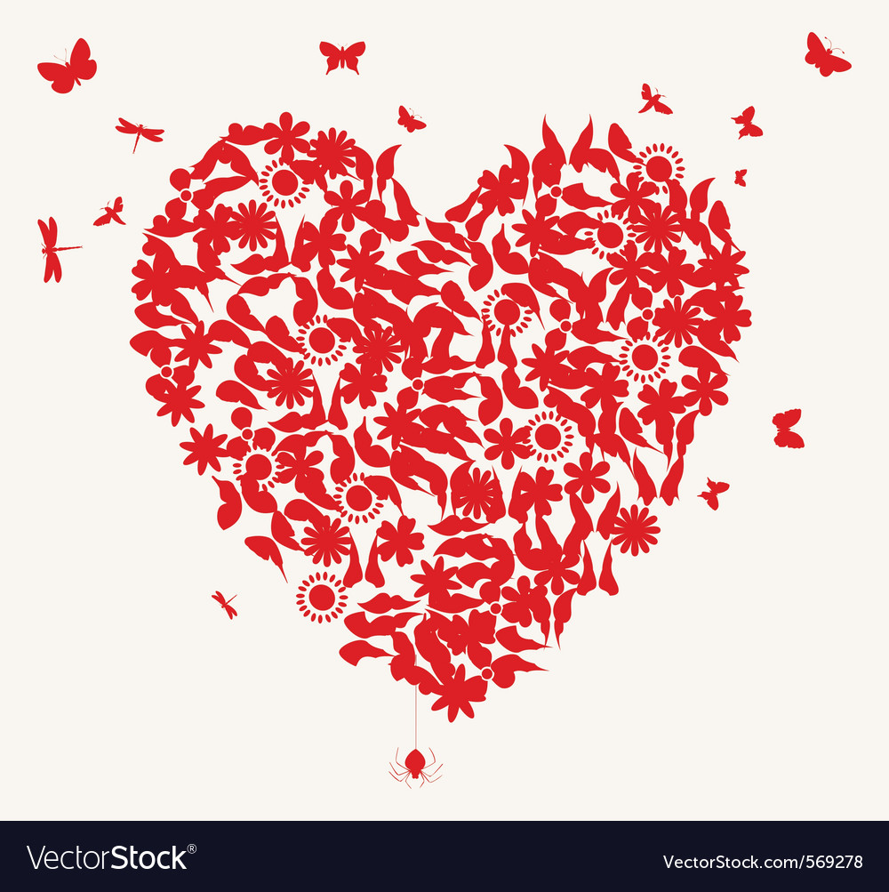 Butterflies and flower heart vector | Price: 1 Credit (USD $1)