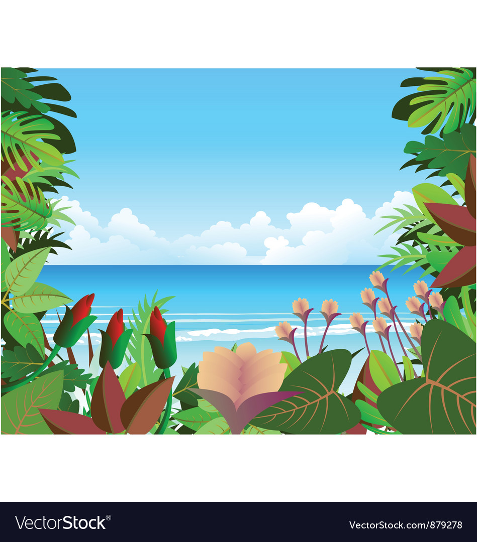 Forest beach background vector