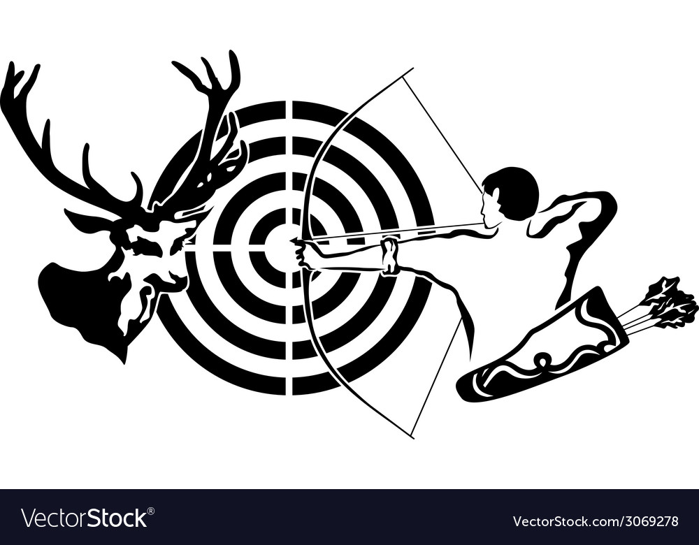 Hunting for deer archer and target deer vector | Price: 1 Credit (USD $1)