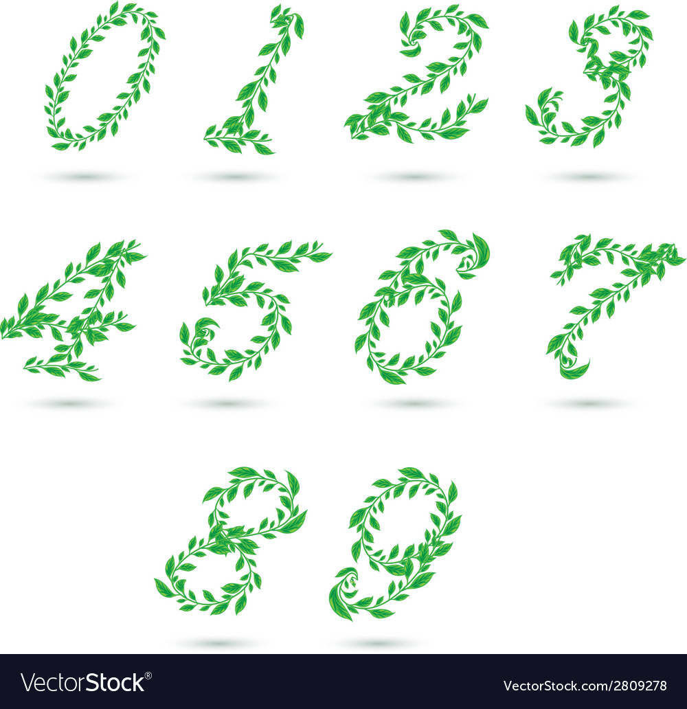 Leaf text number vector | Price: 1 Credit (USD $1)