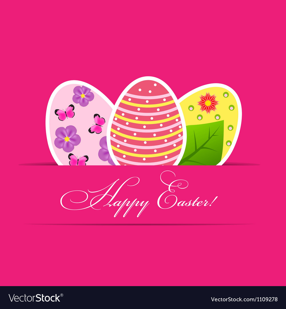 Paper card with easter eggs vector | Price: 1 Credit (USD $1)