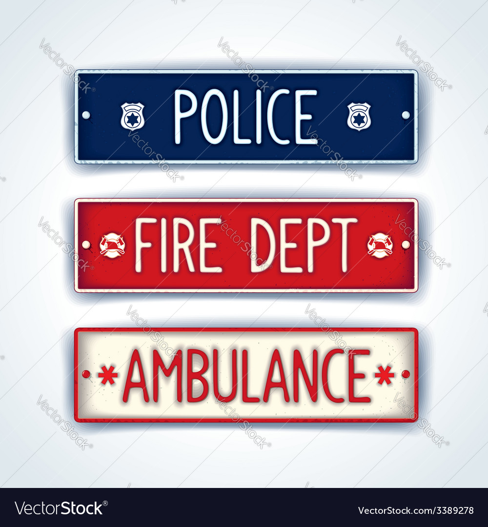 Police fire department ambulance car signs vector | Price: 1 Credit (USD $1)