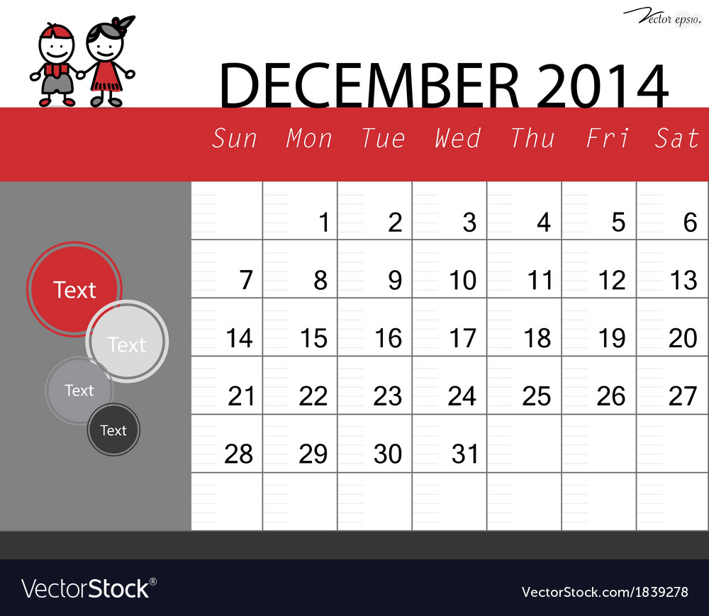 Simple 2014 calendar december vector | Price: 1 Credit (USD $1)