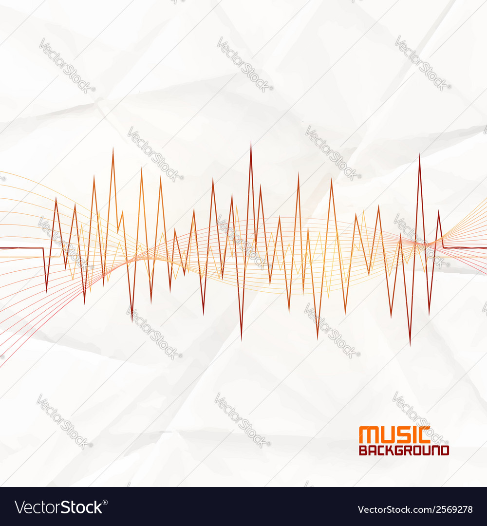 Sound wave on paper background abstract equalizer vector | Price: 1 Credit (USD $1)