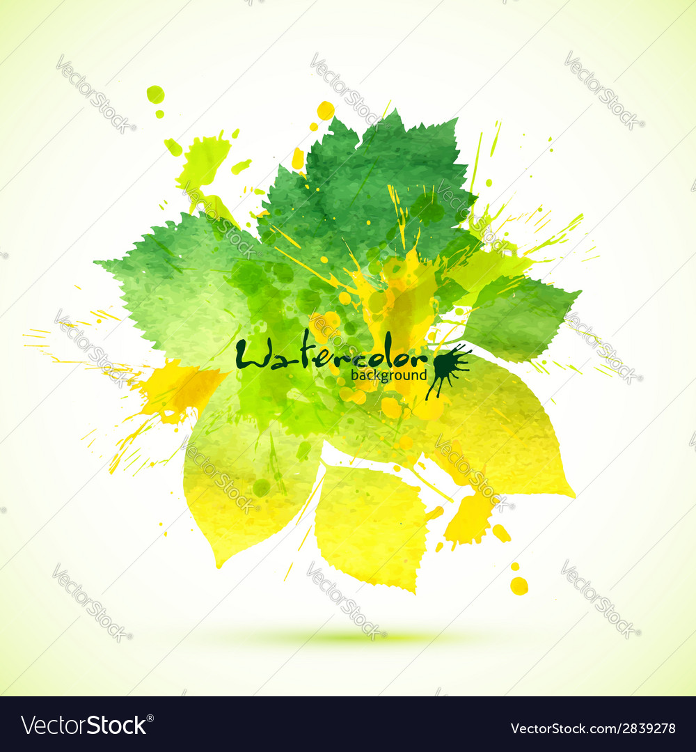 Summer green watercolor painted foliage banner vector | Price: 1 Credit (USD $1)