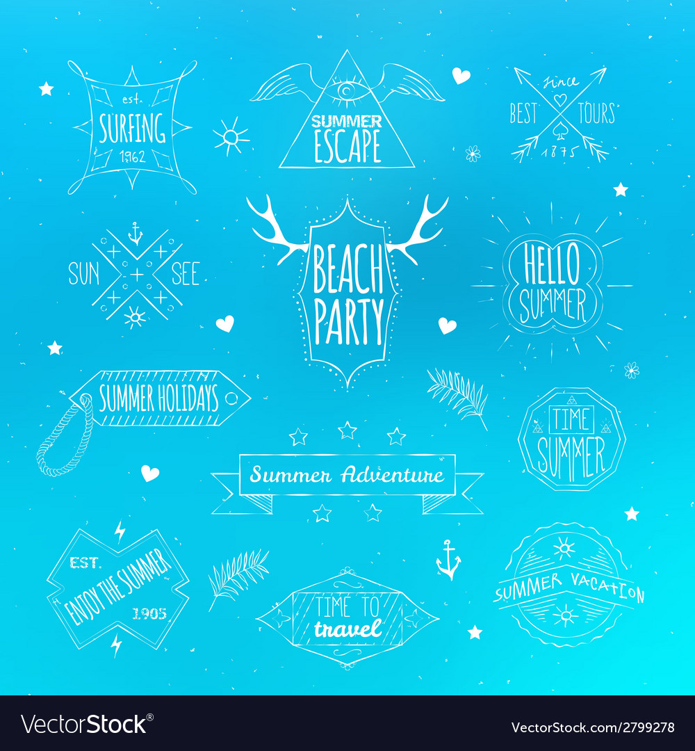 Summer retro labels emblem set vector | Price: 1 Credit (USD $1)