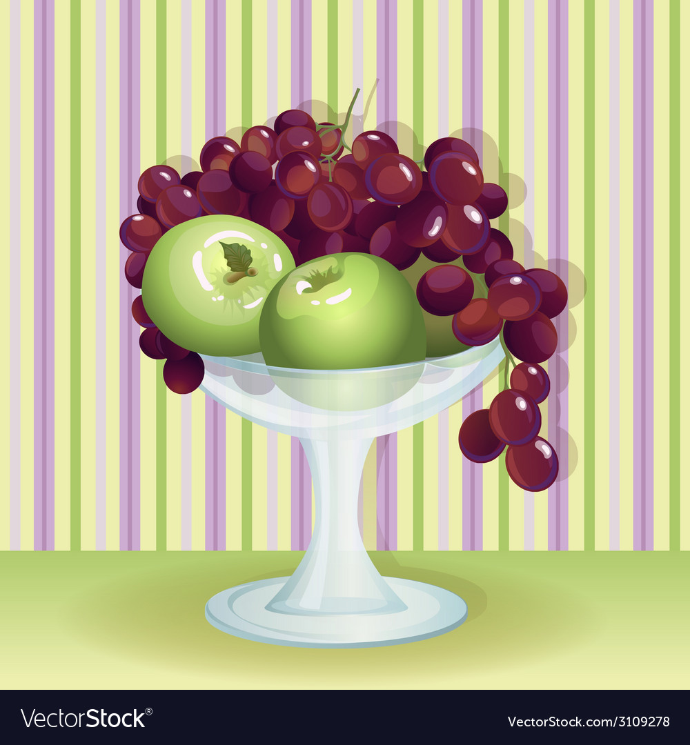 Vase with fruits vector | Price: 1 Credit (USD $1)