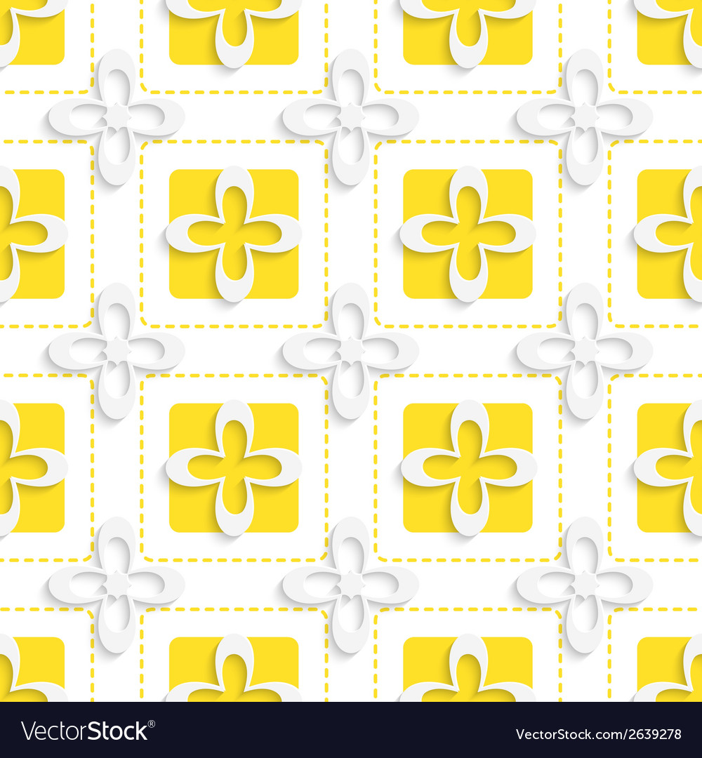 Yellow squares and white flowers pattern vector   Price: 1 Credit (USD $1)