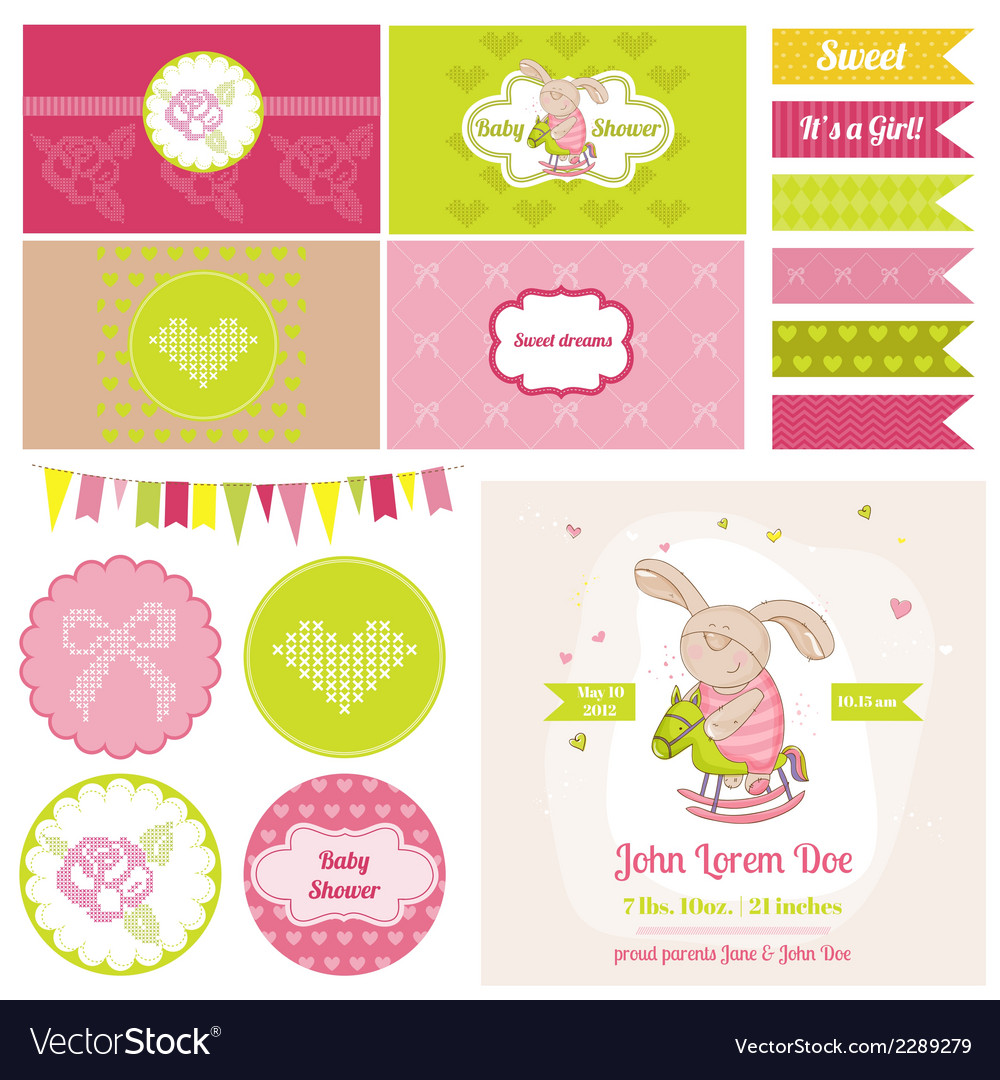Baby bunny on a horse theme vector | Price: 3 Credit (USD $3)