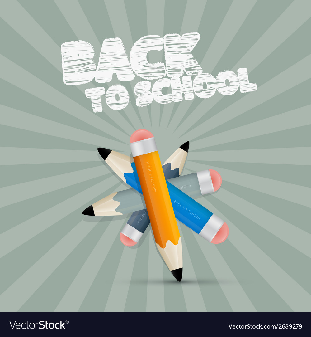 Back to school retro with pencils vector | Price: 1 Credit (USD $1)