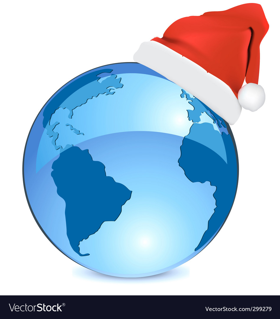 Christmas blue earth vector | Price: 1 Credit (USD $1)