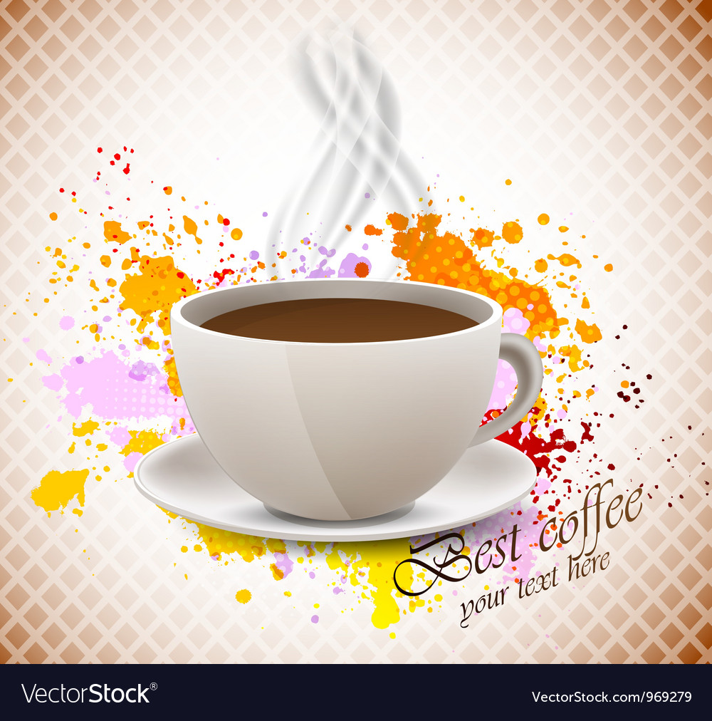 Coffee cup on grunge background vector | Price: 1 Credit (USD $1)