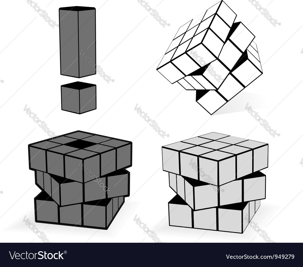 The cube in three variation vector | Price: 1 Credit (USD $1)