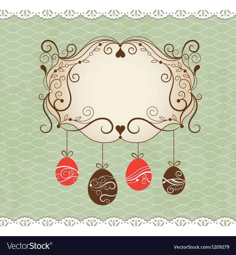 Elegance frame  greeting easter card vector | Price: 1 Credit (USD $1)