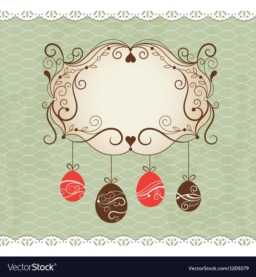 Elegance frame  greeting easter card vector | Price: 1 Credit (USD $1)
