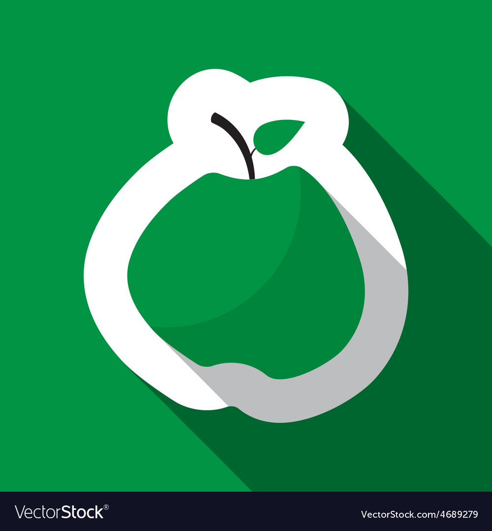 Green apple and long shadow vector | Price: 1 Credit (USD $1)
