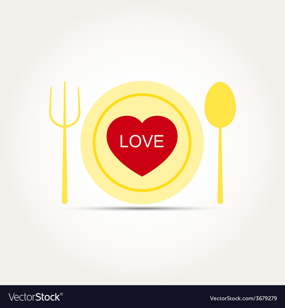 Love heart romantic meal vector | Price: 1 Credit (USD $1)