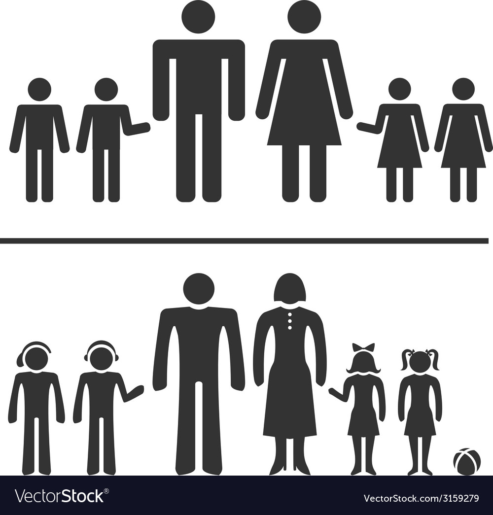 Man woman boy and girl icons vector | Price: 1 Credit (USD $1)