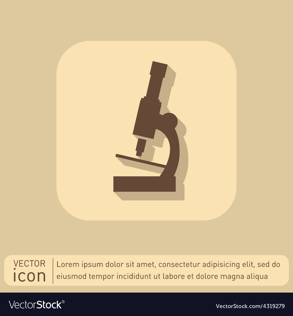 Microscope sign symbol icon studying biology or vector | Price: 1 Credit (USD $1)