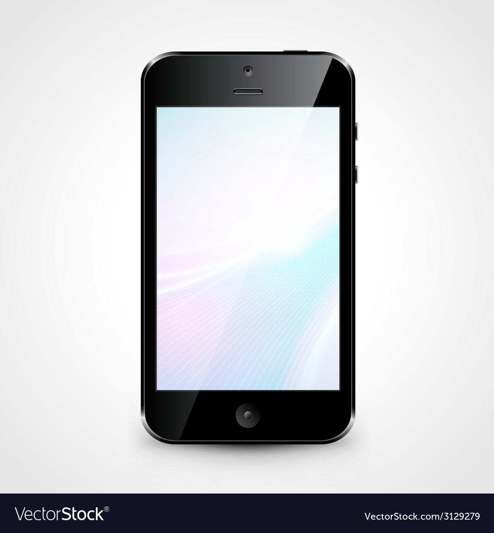 Mobile phone with wallpaper isolated on white vector   Price: 1 Credit (USD $1)