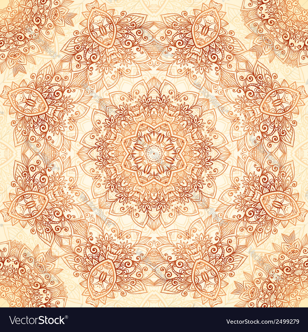 Ornate vintage seamless pattern in mehndi style vector | Price: 1 Credit (USD $1)