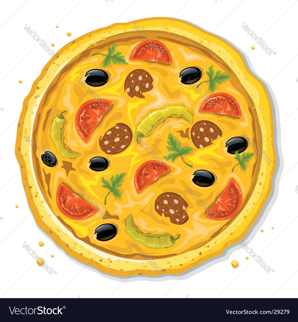 Pizza fast food illustration vector | Price: 3 Credit (USD $3)