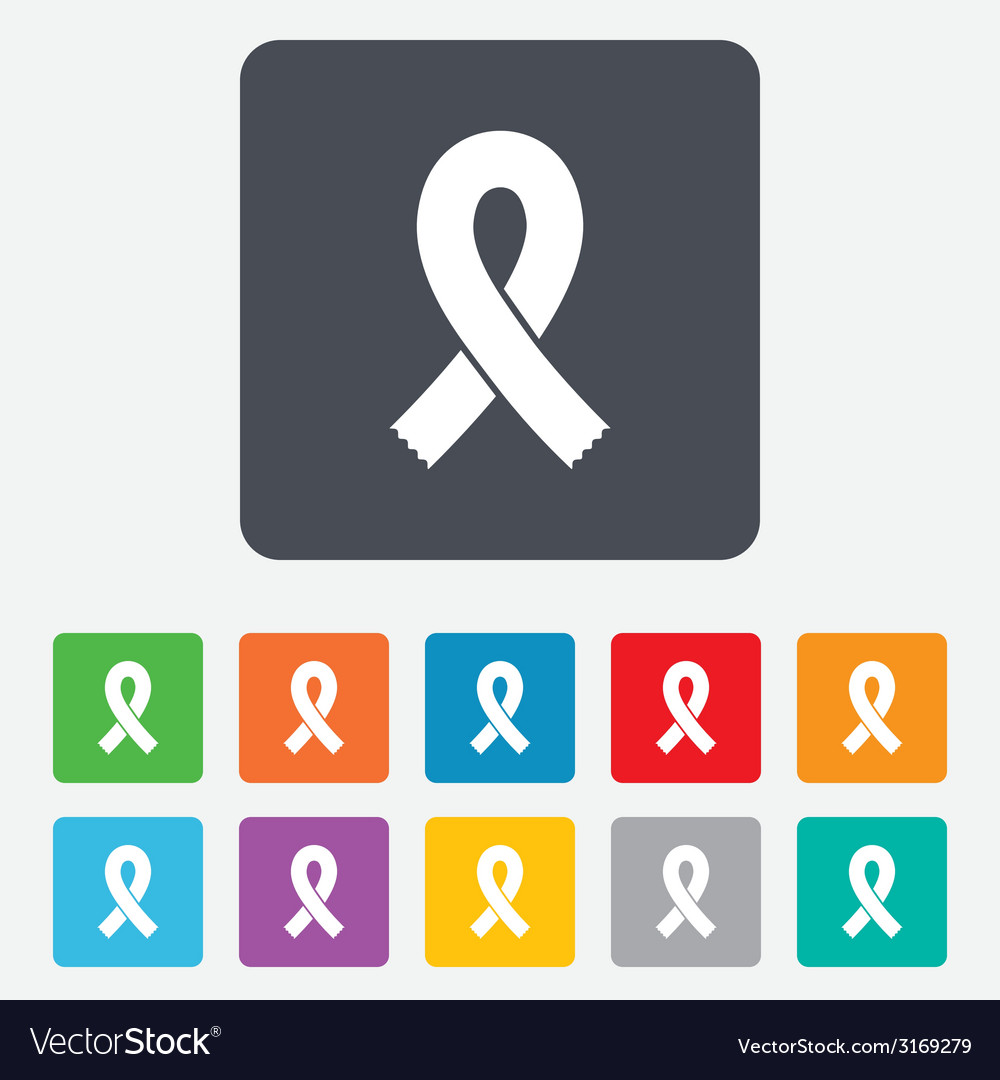Ribbon sign icon breast cancer awareness symbol vector | Price: 1 Credit (USD $1)