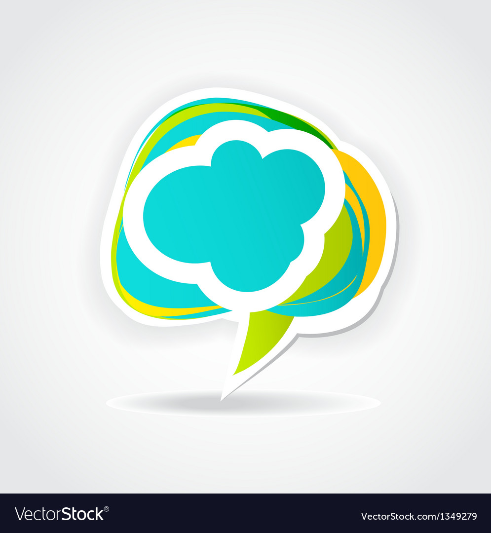Speech cloud bubble green background vector | Price: 1 Credit (USD $1)