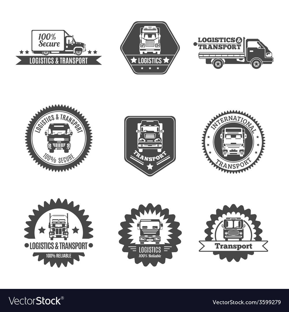 Truck label set vector | Price: 1 Credit (USD $1)