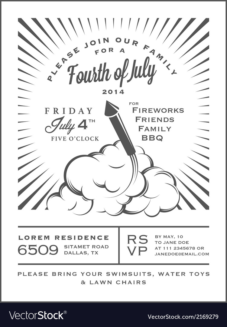Vintage 4th of july independence day invitation vector | Price: 1 Credit (USD $1)