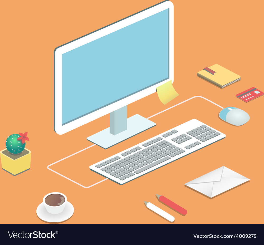 Workplace concept flat design vector | Price: 1 Credit (USD $1)