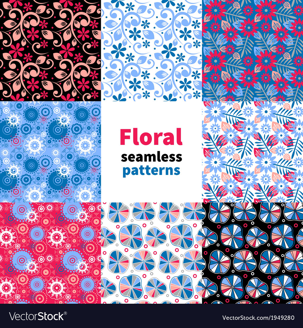 Abstract floral seamless pattern set vector | Price: 1 Credit (USD $1)