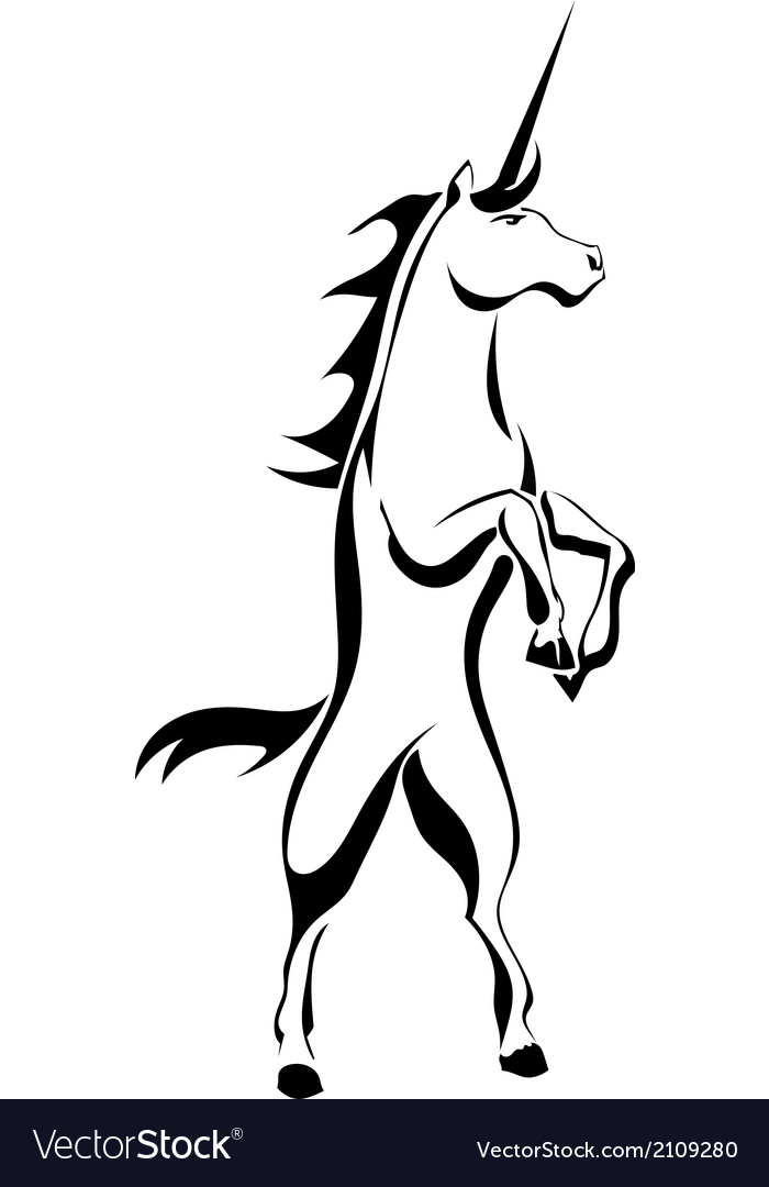 Black silhouette tattoo a rearing unicorn vector | Price: 1 Credit (USD $1)