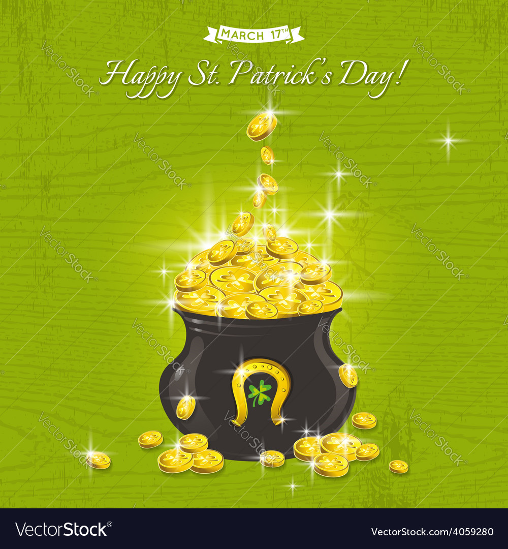 Card for st patricks day with pot with gold vector | Price: 3 Credit (USD $3)