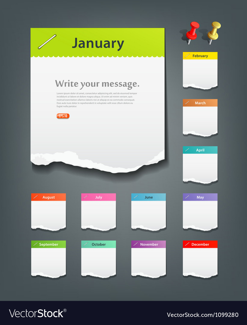 Colorful ripped paper note of the month vector | Price: 1 Credit (USD $1)