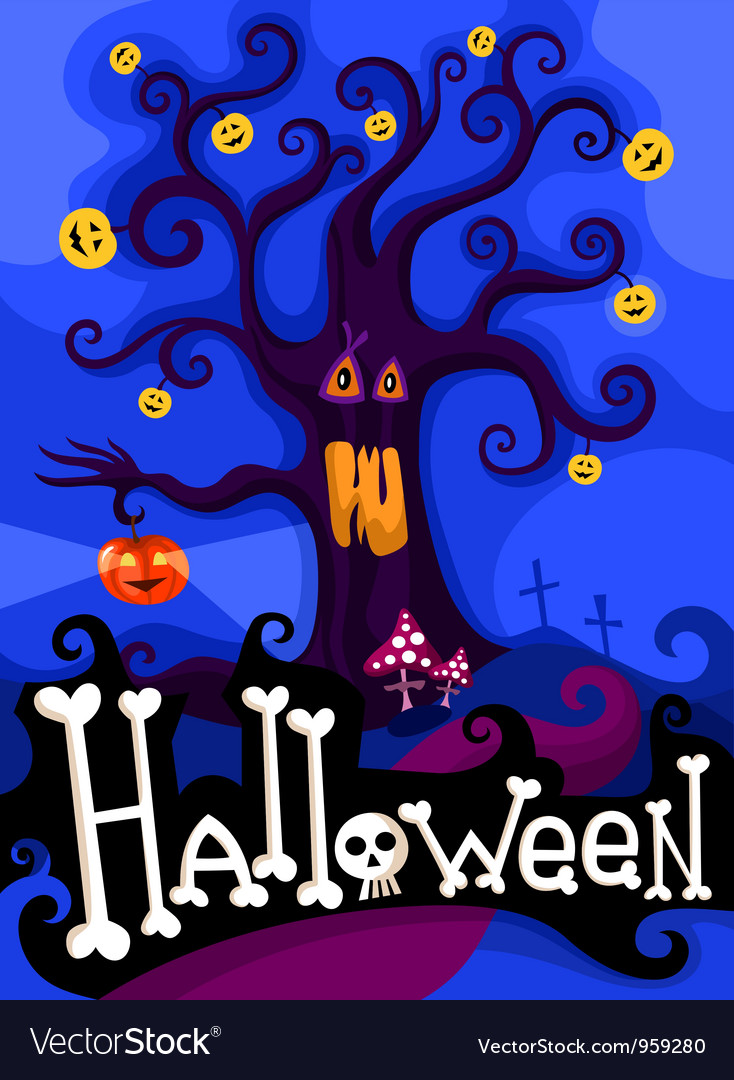 Hallowen card vector | Price: 1 Credit (USD $1)
