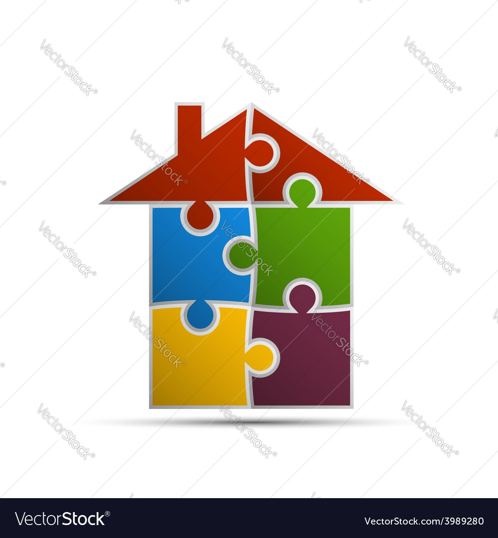 House consisting of pieces of the puzzle vector | Price: 1 Credit (USD $1)
