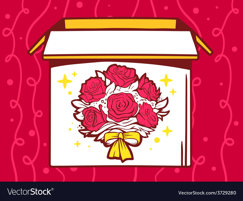 Open box with icon of bouquet of flowers vector | Price: 1 Credit (USD $1)
