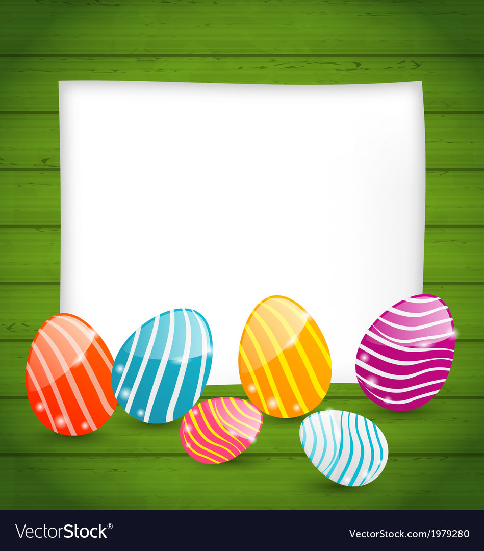 Paper card with easter colorful eggs vector | Price: 1 Credit (USD $1)