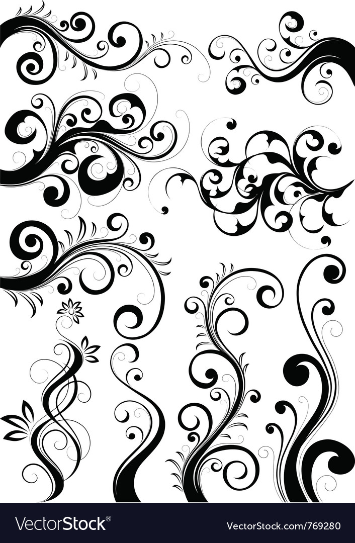 Set of floral designs vector | Price: 1 Credit (USD $1)