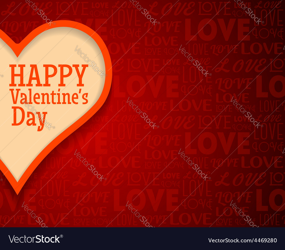 Valentines day greetings card background with big vector | Price: 1 Credit (USD $1)