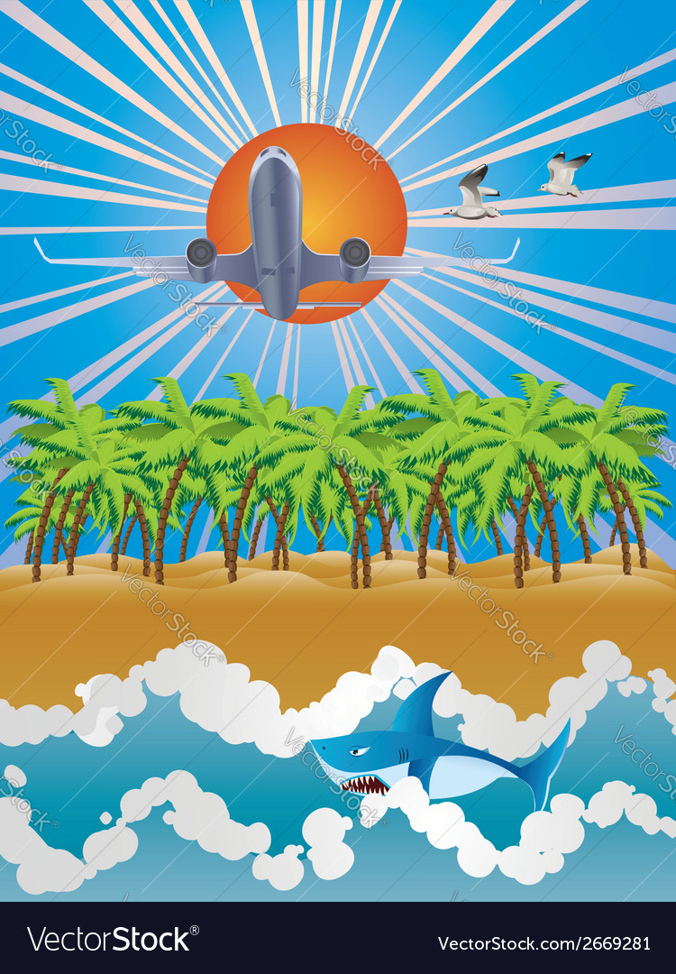 Airplane over tropic island vector | Price: 1 Credit (USD $1)