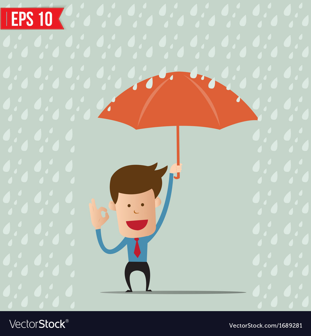 Business cartoon holding umbrella for safety vector   Price: 1 Credit (USD $1)