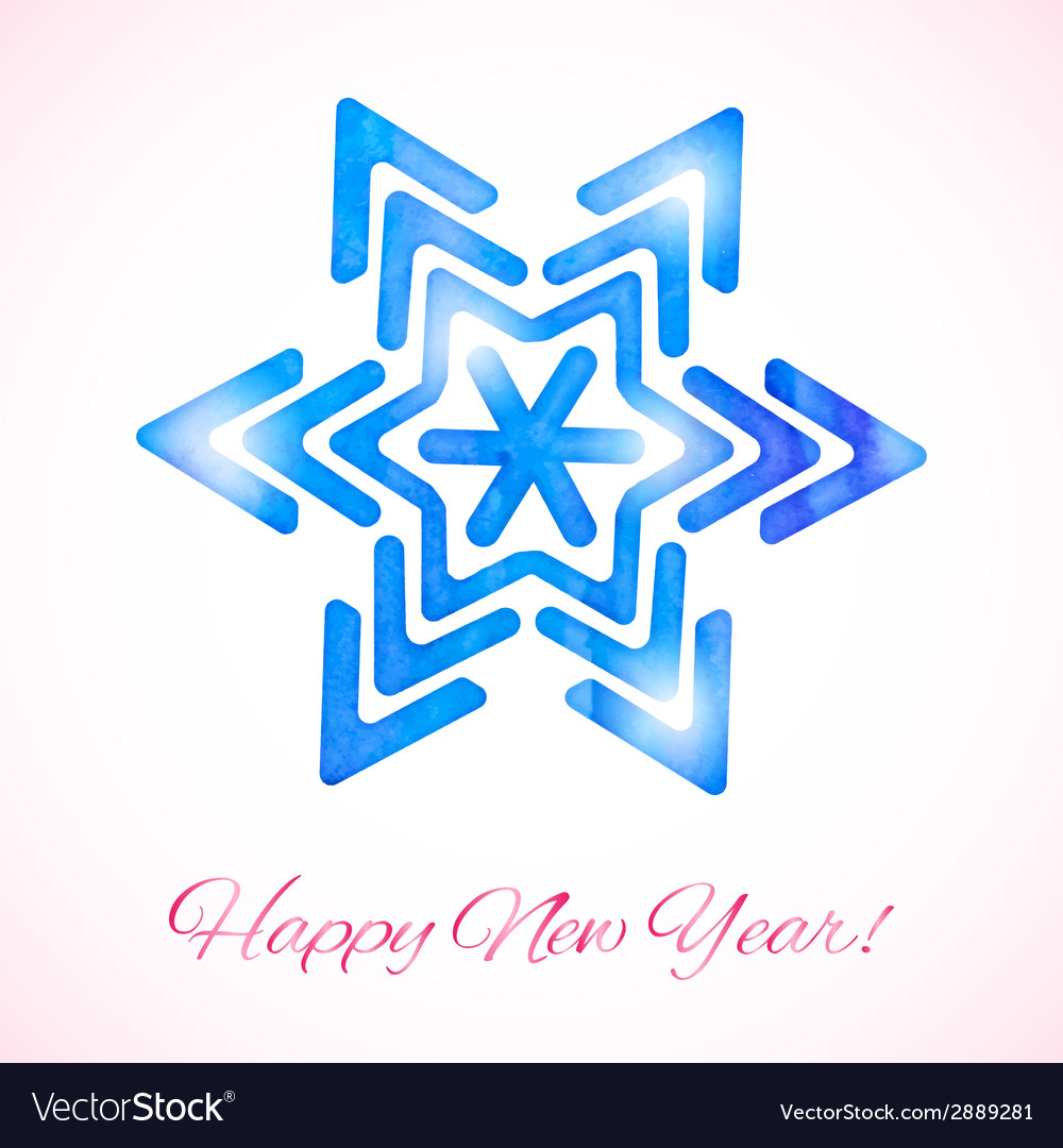 Card with watercolor snowflake vector | Price: 1 Credit (USD $1)