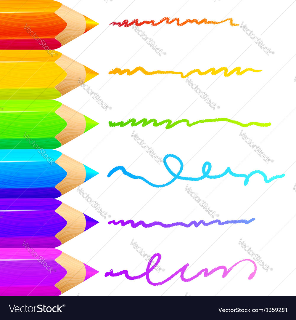 Colored pencils bright colorful set background vector | Price: 1 Credit (USD $1)