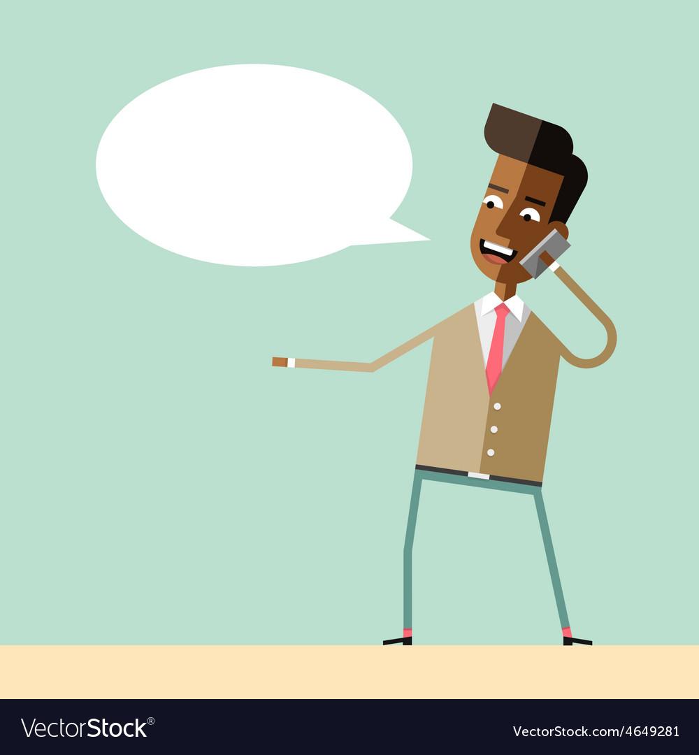 Handsome businessman emotional talking on phone vector | Price: 1 Credit (USD $1)