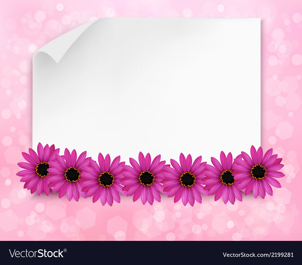 Holiday background with sheet of paper and flowers vector | Price: 1 Credit (USD $1)