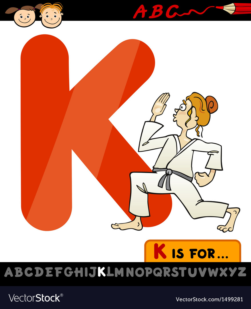 Letter k with karate cartoon vector | Price: 1 Credit (USD $1)
