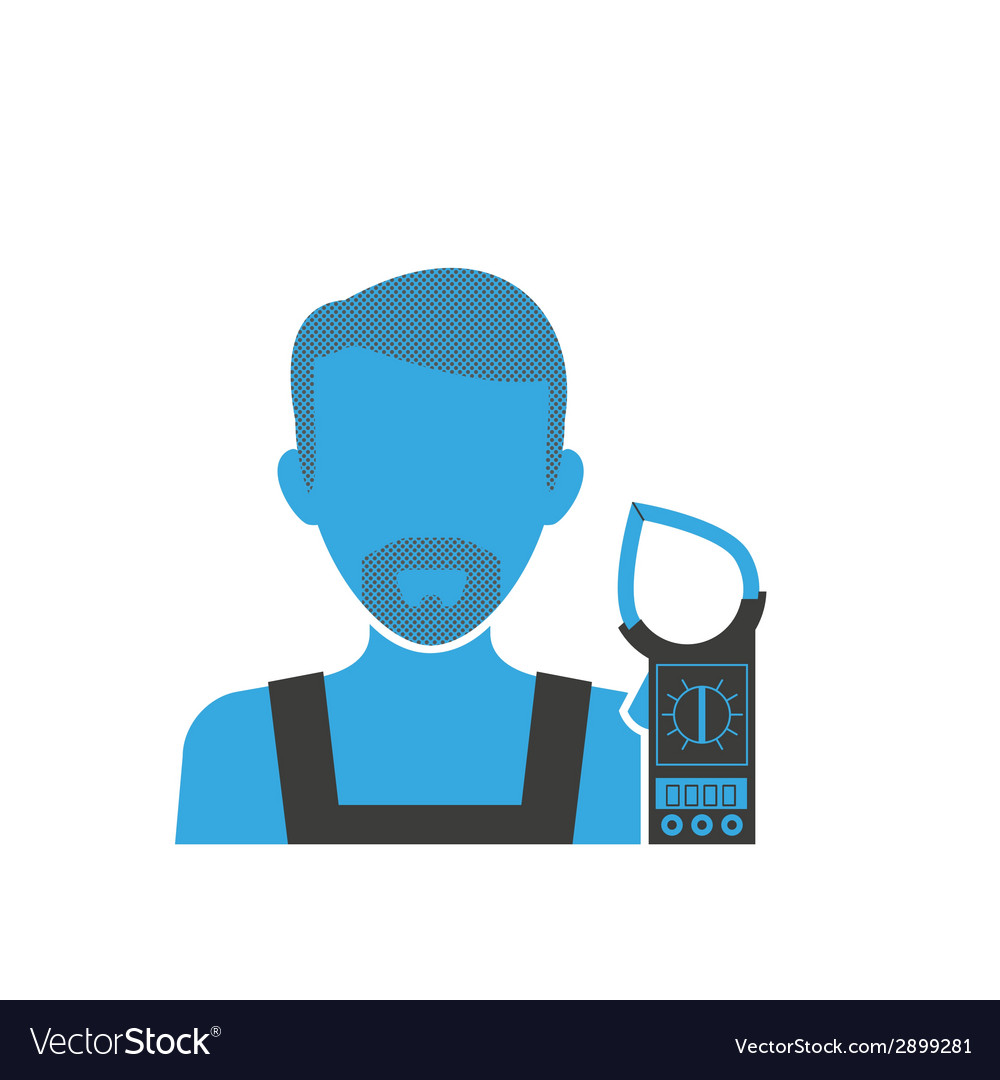 Maintenance electrician blue icon vector | Price: 1 Credit (USD $1)